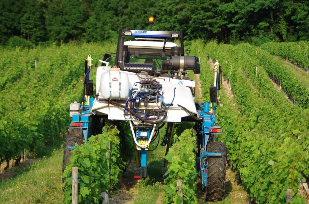 Tracteur dans une vigne